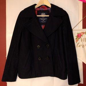 American eagle small black pea coat women's
